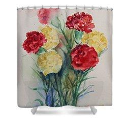 Carnation Flowers Still Life Shower Curtain by Geeta Biswas
