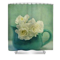 Carnations In A Jar Shower Curtain by Priska Wettstein