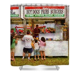Carnival - Daddy I Want A Hot Dog Shower Curtain by Mike Savad