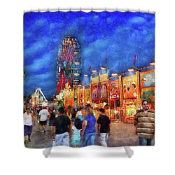 Carnival - The Carnival At Night Shower Curtain by Mike Savad