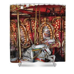 Carnival - The Carousel Shower Curtain by Mike Savad