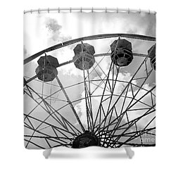 Shower Curtain featuring the photograph Carnival Ferris Wheel Black And White Print - Carnival Rides Ferris Wheel Black And White Art Prints by Kathy Fornal