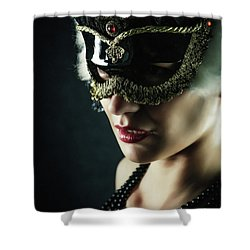 Shower Curtain featuring the photograph Carnival Mask Closeup Girl Portrait by Dimitar Hristov