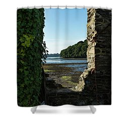 Shower Curtain featuring the photograph Photographs Of Cornwall Carnon Mine Window by Brian Roscorla