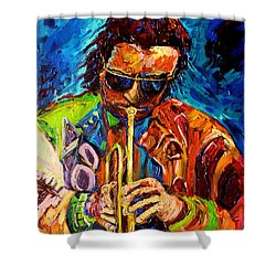 Carole Spandau Paints Miles Davis And Other Hot Jazz Portraits For You Shower Curtain by Carole Spandau
