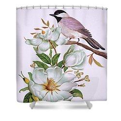 Carolina Chickadee And Magnolia Flower Shower Curtain