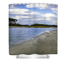 Carolina Inlet At Low Tide Shower Curtain by David Smith