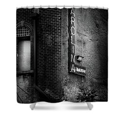 Carolina Theatre Neon In Black And White Shower Curtain