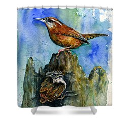 Carolina Wren And Baby Shower Curtain by John D Benson