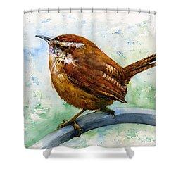 Carolina Wren Large Shower Curtain by John D Benson