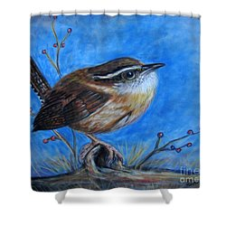 Shower Curtain featuring the painting Carolina Wren by Patricia L Davidson
