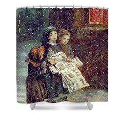 Carols For Sale  Shower Curtain by Augustus Edward Mulready