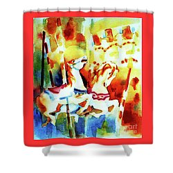 Shower Curtain featuring the painting Carousal 4 by Kathy Braud