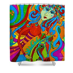 Shower Curtain featuring the painting Carousel Dance 2016 by Alison Caltrider