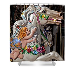 Carousel Horse And Angel Shower Curtain by Garry Gay