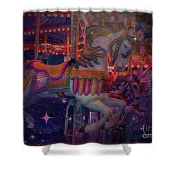 Carousel Horse Shower Curtain by Annie Gibbons