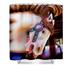 Carousel Horse Portrait Shower Curtain by Garry Gay