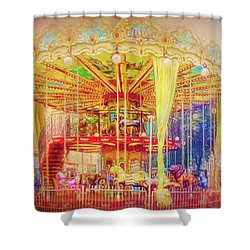 Shower Curtain featuring the photograph Carousel by Wallaroo Images