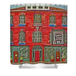 Carpe Diem Coffee Roasters Shower Curtain