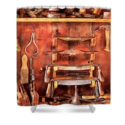 Carpenter - Spoke Shaves Shower Curtain by Mike Savad