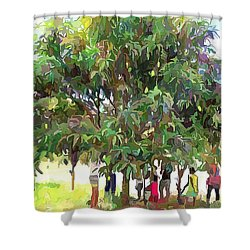 Carribean Scenes - Under De Mango Tree Shower Curtain