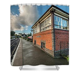 Shower Curtain featuring the photograph Carrog Signal Box by Adrian Evans