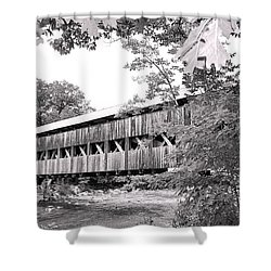 Carrol County Covered Bridge In Black And White Shower Curtain