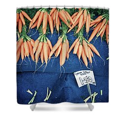 Carrots At The Market Shower Curtain by Tom Gowanlock