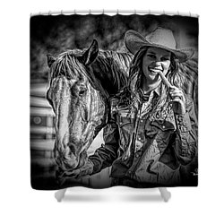 Carrots Cowgirls And Horses  Black Shower Curtain