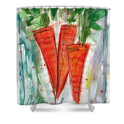 Carrots Shower Curtain by Linda Woods