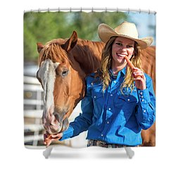 Carrots,cowgirls And Horses  Shower Curtain
