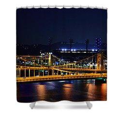 Carson Bridge At Night Shower Curtain by William Bartholomew