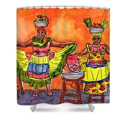 Cartagena Fruit Venders Shower Curtain by Randy Sprout