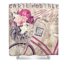 Carte Postale Bicycle Shower Curtain by Mindy Sommers
