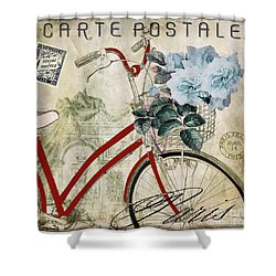 Carte Postale Vintage Bicycle Shower Curtain by Mindy Sommers