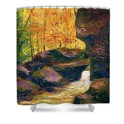 Shower Curtain featuring the painting Carter Caves Kentucky by Gail Kirtz