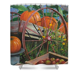 Shower Curtain featuring the painting Cartloads Of Pumpkins by Jeanette French
