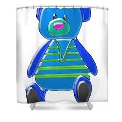 Cartoon Bear In Sweater Vest Shower Curtain by Karen Nicholson