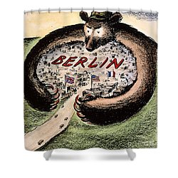 Cartoon: Cold War Berlin Shower Curtain by Granger