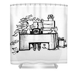 Cartoon Desk Shower Curtain