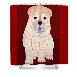 Shower Curtain featuring the painting Cartoon Shar Pei by Marian Cates