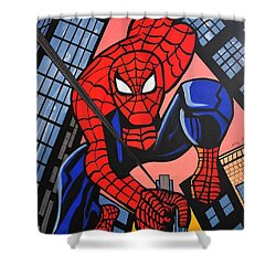 Cartoon Spiderman Shower Curtain by Nora Shepley