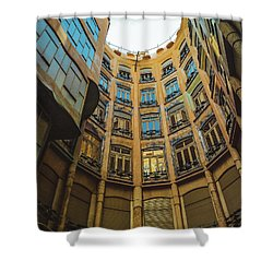 Shower Curtain featuring the photograph Casa Mila - Barcelona by Colleen Kammerer