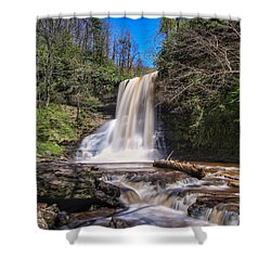 Cascade Falls In Spring Shower Curtain