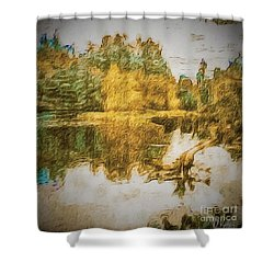 Cascade Lake Shower Curtain by William Wyckoff