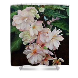 Cascade Of Begonias  Shower Curtain by Margit Sampogna