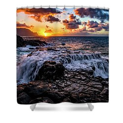 Cascading Water At Sunset Shower Curtain