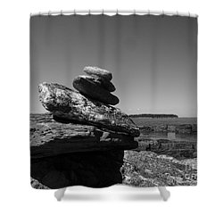 Casco Bay Cairn Bw Shower Curtain by Barbara Bardzik
