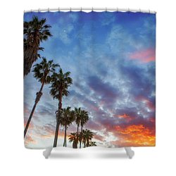 Shower Curtain featuring the photograph Casitas Palms by John A Rodriguez
