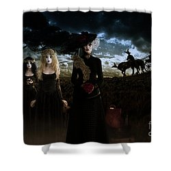 Shower Curtain featuring the digital art Casquette Brides Arrival by Shanina Conway